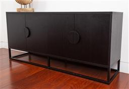 Sale 9150H - Lot 6 - A contemporary and minimalistic oak veneer buffet with four doors, opening to reveal shelved interior, complete with a matte black f...