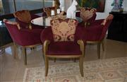 Sale 7984 - Lot 92 - A set of six tub chairs upholstered in maroon velvet with acanthus and cheetah silk detail.