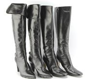 Sale 8087B - Lot 318 - TWO PAIRS OF ITALIAN BLACK LEATHER BOOTS; Casadei (as new) 37 Antonia Barbato 37 1/2
