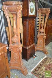 Sale 8255 - Lot 1069 - Pair of Louis XVI Style Carved Stands, with turned centre supports, fawn masks & triform base (need tops / some cracking)