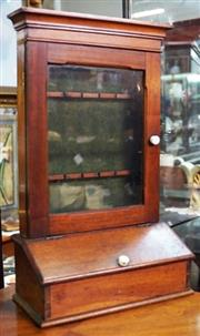 Sale 8320 - Lot 726 - Cedar spoon cabinet with 2 racks for spoons and a cabinet below for other cutlery c1900