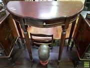 Sale 8545 - Lot 1062 - Timber Demi Lune Hall Table with Single Drawer
