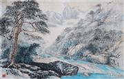 Sale 8821A - Lot 5065 - Chinese School - Running Waters (Shan Shui), Guilin, China, c1920 47 x 70cm
