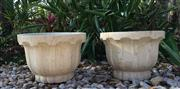 Sale 8857H - Lot 76 - A Pair Of Carved Yellow Marble Planters ,General Wear, Slight Chipping on Edge ,Size 35cm D x25cm H ,
