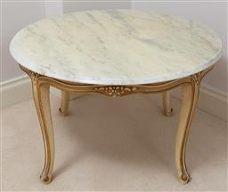 Sale 9165H - Lot 47 - A circular marble topped occasional table over four saber legs, Height 49cm x Diameter 79cm, some damage to top