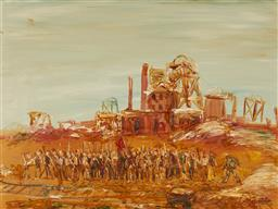 Sale 9150A - Lot 5099 - PAUL DELPRAT (1942 - ) Striking Miners oil on board 67 x 90 cm (frame: 84 x 107 x 4 cm) signed lower right. Bonython Art Gallery lab...
