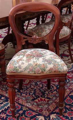 Sale 9190H - Lot 181 - A set of fourteen tapestry upholstered balloon back dining chairs with front fluted tapering legs, Height of back 89cm