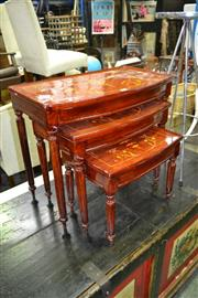 Sale 8115 - Lot 1042 - Inlaid Nest of 3 tables w Fluted Legs