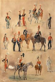 Sale 8665A - Lot 5104 - Artist Unknown (C19th) - An Early 19th Century Royal Guards Vignette 52 x 35cm