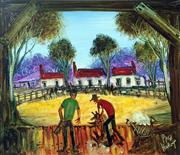 Sale 8607A - Lot 5003 - Kevin Charles Pro Hart (1928 - 2006) - The Blade Shearers 24 x 28cm