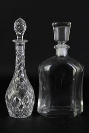 Sale 8972M - Lot 678 - Cut glass decanter (H28.5cm, small internal crack to neck) together with another (H27.5cm)