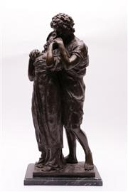 Sale 9027 - Lot 13 - A Bronze Sculpture of Lovers on Marble Base H: 52cm
