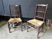 Sale 9031 - Lot 1061 - Set of Six 19th Century Lancashire Type Oak Ladder-Back Chairs, with double rows of spindles, rush seats & stretchered legs