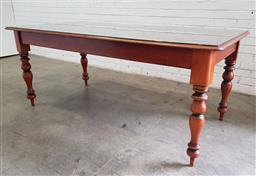 Sale 9102 - Lot 1069 - Colonial Living Cedar Dining Table, on turned legs (h77 x w193 x d82cm)