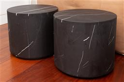 Sale 9150H - Lot 12 - Pair of heavy black marble topped sleek occasional tables, Height 40.5cm x Diameter 46cm