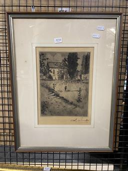 Sale 9176 - Lot 2058 - John Shirlow (1869 - 1936)  Country Church drypoint etching 28.5 x 20 cm, signed lower right -