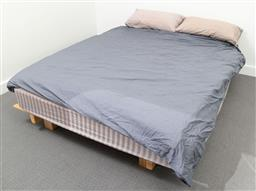 Sale 9239H - Lot 66 - A queen bed with timber base and mattress, together with a .doona and other bedding.