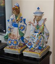 Sale 7984 - Lot 96 - A pair of large Italian majolica oriental style figures signed to back. Height 67cm