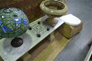 Sale 7987A - Lot 1355 - Stone Planter on Trolley with Marble Top Table on Stone Base