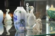 Sale 8346 - Lot 27 - Royal Doulton Kitten with a Copenhagen Vase & Nao Swan