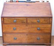 Sale 8440A - Lot 82 - A cedar bureau with fall flap revealing fitted interior over two short and two long drawers on bracket feet, H 98 x W 110 x D 48cm
