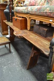 Sale 8469 - Lot 1034 - Rough Sawn Dining Table with Benches