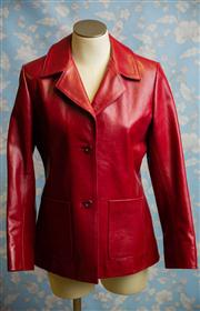 Sale 8577 - Lot 167 - A vintage style red leather jacket, size 12, Condition: Excellent