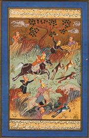 Sale 8595 - Lot 2048 - Indo-Persian School (2 works) - Hunting Scenes 22.5 x 14.5cm, each