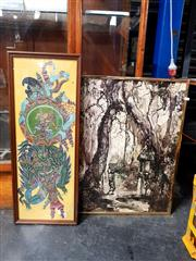 Sale 8678 - Lot 2076 - 2 Works: Balinese Framed Artworks