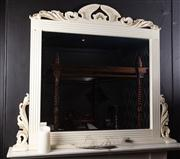 Sale 8761A - Lot 69 - A white painted timber mantle mirror with bevelled glasss and acanthus detail, H x 120cm, W x 142cm,