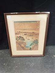 Sale 8969 - Lot 2021 - Japanese School Overlooking the Harbourcolour woodblock, 35 x 30cm, framed -