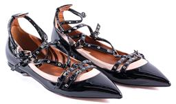 Sale 9132 - Lot 404 - A PAIR OF VALENTINO LOVE LATCH BALLERINA CAGE FLATS; black patent leather with dusty pink trim, silver tone eyelets and buckles, siz...