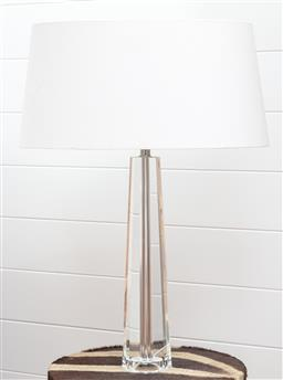 Sale 9134H - Lot 13 - A faceted tapering glass lamp with linen shade Height 63cm (chip to base.)