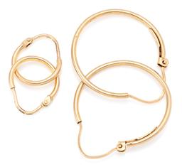 Sale 9164J - Lot 442 - TWO PAIRS OF 9CT GOLD HOOP EARRINGS; sizes 25mm and 13mm, to lever fittings, total wt. 2.02g.