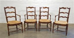 Sale 9166 - Lot 1017 - Set of 4 French style ladder back dining chairs with rush seats (h:100 x w:54 x d:48cm)
