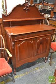 Sale 8282 - Lot 1074 - Late 19th Century Cedar Chiffonier, with carved back and shelf, long drawer and two panel doors.
