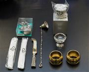 Sale 8310A - Lot 182 - A group of various items, including cocktail sticks, cheese knife, candle snuffer, salt cellars and napkin rings