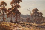 Sale 8597 - Lot 505 - Allan Fizzell (1944 - ) - Countryscape with Sheep Grazing 59 x 89.5cm