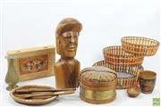Sale 8635W - Lot 83 - Timber Statue And Other Wares Including Baskets