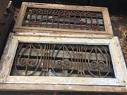 Sale 8839 - Lot 1370 - Timber and Wrought Iron Window Inserts x 2