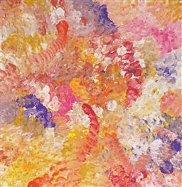 Sale 9150A - Lot 5051 - JANET GOLDER KNGWARREYE (1973 - ) Yam Flower acrylic on canvas 60 x 60cm (stretched & ready to hang) certificate of authenticity inc...