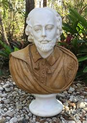 Sale 8857H - Lot 79 - A Carved Marble Bust of William Shakespeare, General Wear , Crack Line On Hair,65cm H x 45cm Widest