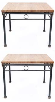 Sale 8940J - Lot 94 - A pair of marble topped square form side tables raised over verdigris finish metal bases, height 43, width 56, depth 56cm