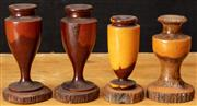 Sale 8984H - Lot 324 - A group of mulga wood wares including a pair of candle holders together with others,