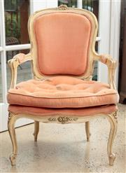 Sale 9060H - Lot 61 - A French bergère in Louis XV style with salmon velvet upholstery, the seat with button detail and limewashed finish. Height of back ...