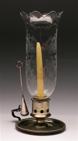 Sale 9119 - Lot 33 - A Baccarat shade hurricane lamp with silverplated base (H 33cm)