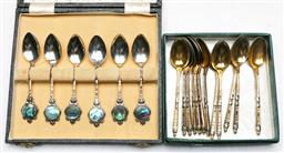 Sale 9138 - Lot 185 - Cased Set of Sterling Silver and Paua Shell Tea Spoons together with Twelve Hallmarked others
