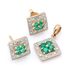 Sale 9221 - Lot 358 - A 9CT GOLD DIAMOND AND STONE SET PENDANT AND EARRINGS SUITE; square settings centring 4 round cut synthic emeralds to surrounds of 1...