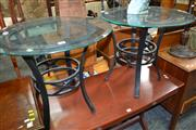 Sale 8115 - Lot 1428 - Pair of Circular Glass Top Tables on Metal Base
