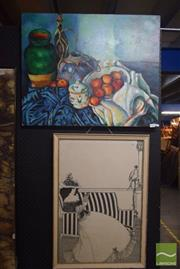 Sale 8518 - Lot 2044 - Still Life, signed Mario on Canvas with a Large Framed Beardsley Print (2)